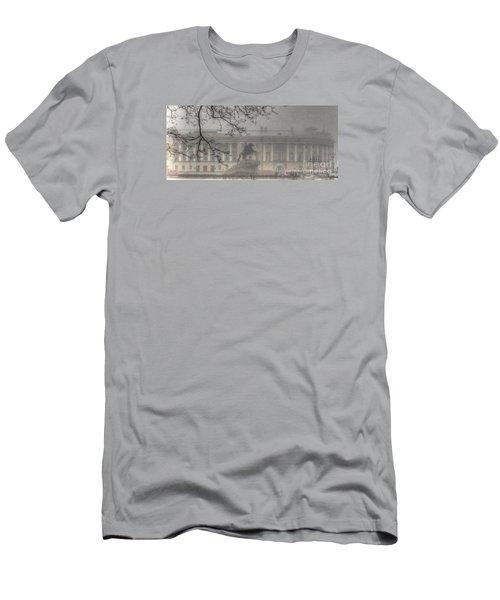 Men's T-Shirt (Slim Fit) featuring the pyrography Yury Bashkin The Fog Peterburg by Yury Bashkin