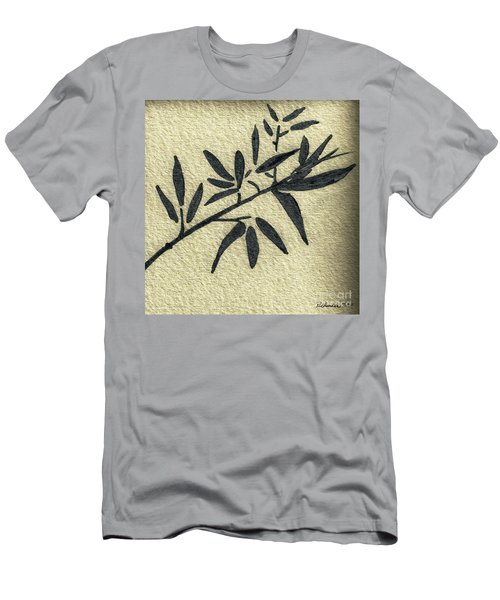 Zen Sumi Antique Botanical 4a Ink On Fine Art Watercolor Paper By Ricardos Men's T-Shirt (Athletic Fit)