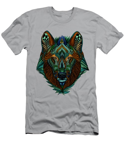 Zentangle Inspired Art- Wolf Colored Men's T-Shirt (Athletic Fit)