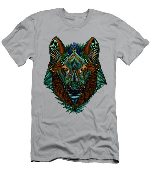 Men's T-Shirt (Athletic Fit) featuring the painting Zentangle Inspired Art- Wolf Colored by Becky Herrera