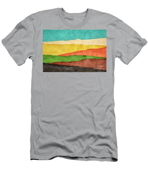 Abstract Landscape Created With Handmade Paper Men's T-Shirt (Athletic Fit)