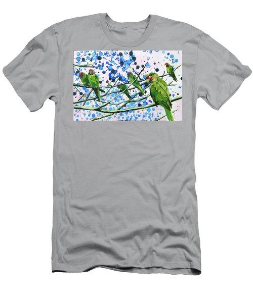 Blue Dot Parakeets Men's T-Shirt (Athletic Fit)