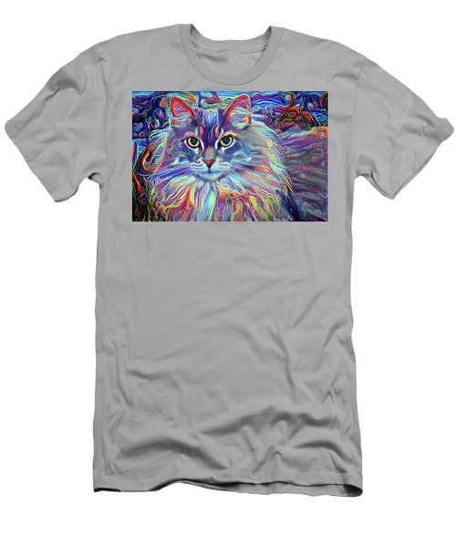 Colorful Long Haired Cat Art Men's T-Shirt (Athletic Fit)