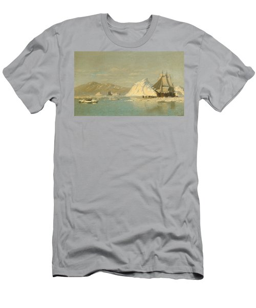 Men's T-Shirt (Athletic Fit) featuring the painting Off Greenland - Whaler Seeking Open Water by William Bradford