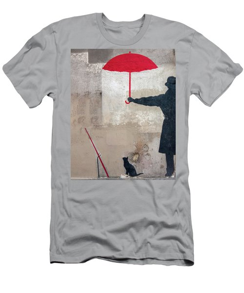 Men's T-Shirt (Athletic Fit) featuring the photograph Paris Graffiti Man With Red Umbrella by Gigi Ebert