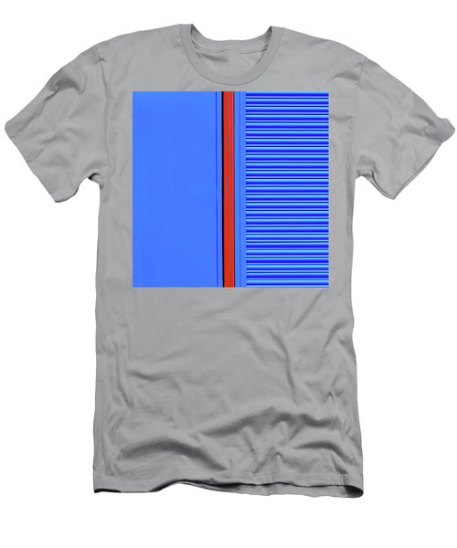 Blue With Red Stripe Men's T-Shirt (Athletic Fit)