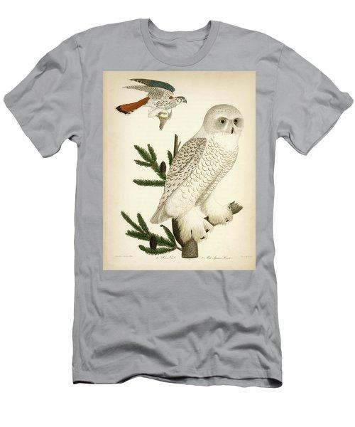 1. Snow Owl. 2. Male Sparrow-hawk. Men's T-Shirt (Athletic Fit)