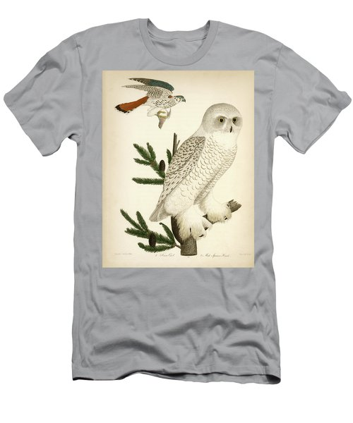1. Snow Owl. 2. Male Sparrow-hawk. Men's T-Shirt (Athletic Fit)