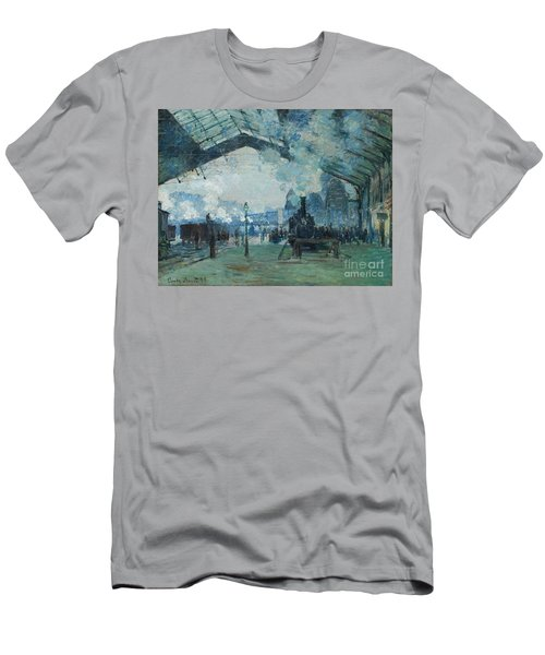 Men's T-Shirt (Athletic Fit) featuring the digital art Arrival Of The Normandy Train, Gare Saint-lazare by Claude Monet
