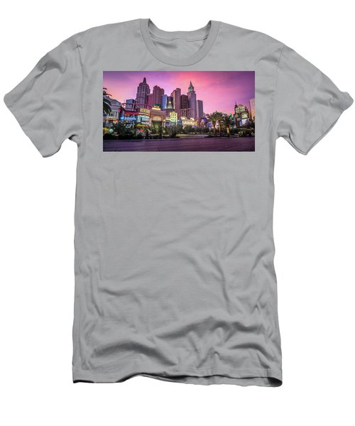 Men's T-Shirt (Athletic Fit) featuring the photograph New York City Skyline In Las Vegas Nevada by Alex Grichenko