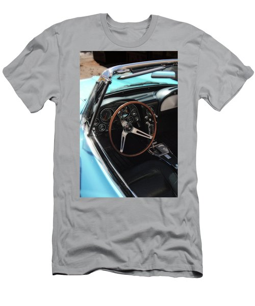 Men's T-Shirt (Athletic Fit) featuring the photograph 1965 Chevrolet Corvette Convertible - Driver Side by Angie Tirado