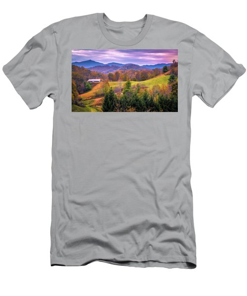 Men's T-Shirt (Athletic Fit) featuring the photograph Autumn Season And Sunset Over Boone North Carolina Landscapes by Alex Grichenko