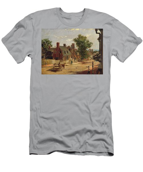 Men's T-Shirt (Athletic Fit) featuring the painting Old Annapolis, Francis Street by Francis Blackwell Mayer