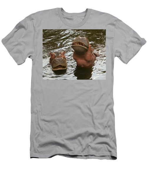 A Hippopotamus Pair In The Water Men's T-Shirt (Athletic Fit)