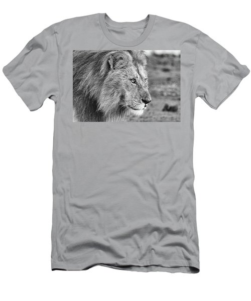A Monochrome Male Lion Men's T-Shirt (Athletic Fit)