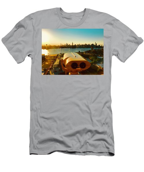 A Voyeur In Brooklyn Eyeing Manhattan Men's T-Shirt (Athletic Fit)