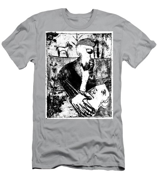 After Childish Edgeworth Black And White Print 26 Men's T-Shirt (Athletic Fit)