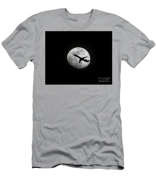 Airliner Passing In Front Of A Full Moon Men's T-Shirt (Athletic Fit)