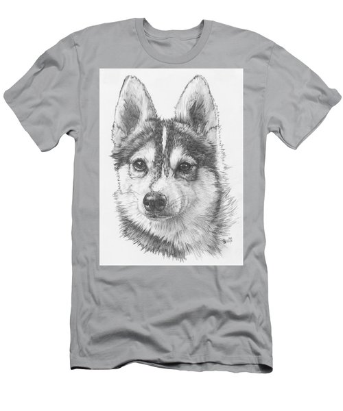 Men's T-Shirt (Athletic Fit) featuring the drawing Alaskan Klee Kai by Barbara Keith
