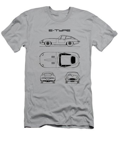 Jaguar E Type Blueprint Design Men's T-Shirt (Athletic Fit)