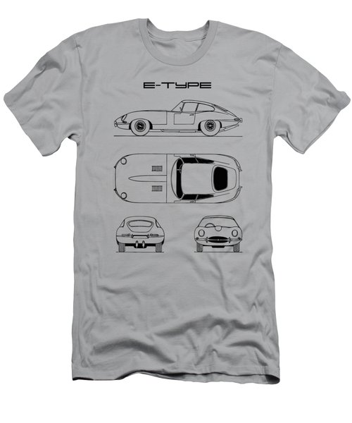Jaguar E Type Blueprint Design Men's T-Shirt (Athletic Fit)