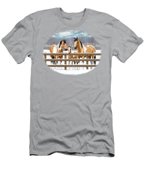 Buckskin Paint Horses In Snow Men's T-Shirt (Athletic Fit)