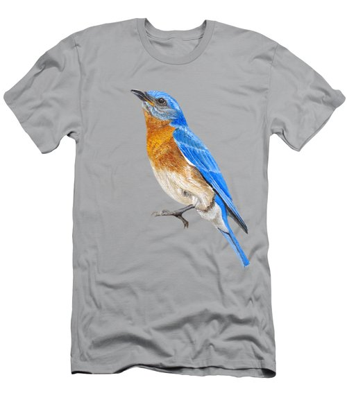 Men's T-Shirt (Athletic Fit) featuring the painting Cute Eastern Bluebird  by Angeles M Pomata