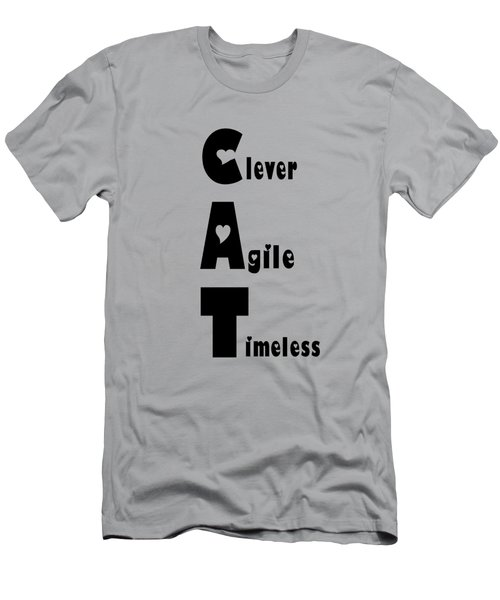 Cat With Black Words Men's T-Shirt (Athletic Fit)