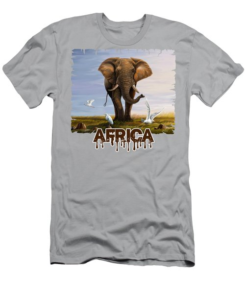 Elephant And Cattle Egrets Men's T-Shirt (Athletic Fit)