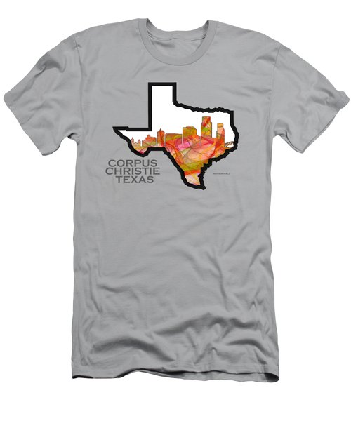 Us State Map - Text Corpus Christie - Summer Swirl Men's T-Shirt (Athletic Fit)