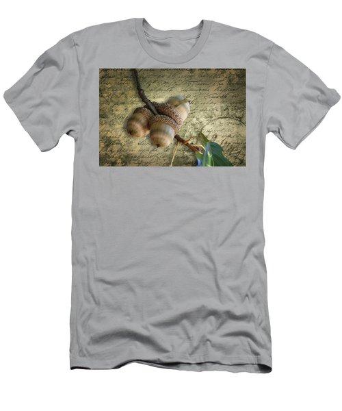 Men's T-Shirt (Athletic Fit) featuring the mixed media Autumn Acorns On Vintage Postcard Digital Art by Debi Dalio