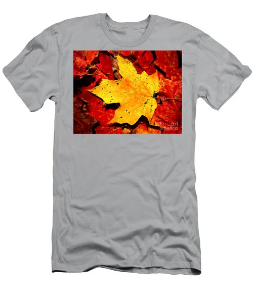 Autumn Beige Yellow Leaf On Red Leaves Men's T-Shirt (Athletic Fit)