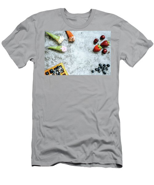 Background Of Tasty And Sweet Foods With Red Fruits And Waffles, Men's T-Shirt (Athletic Fit)