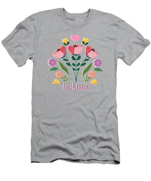 Be Kind Folk Art Bouquet Men's T-Shirt (Athletic Fit)
