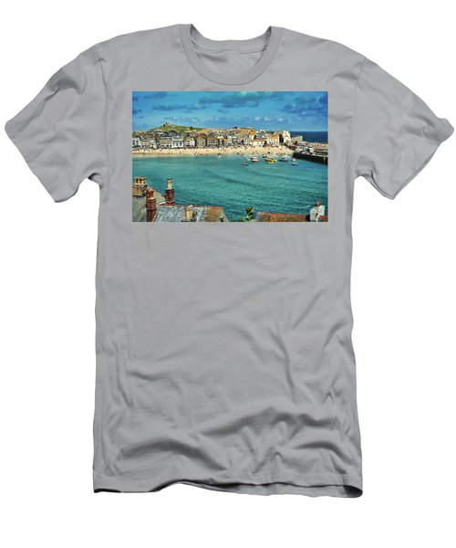 Beach From Across Bay St. Ives, Cornwall, England Men's T-Shirt (Athletic Fit)