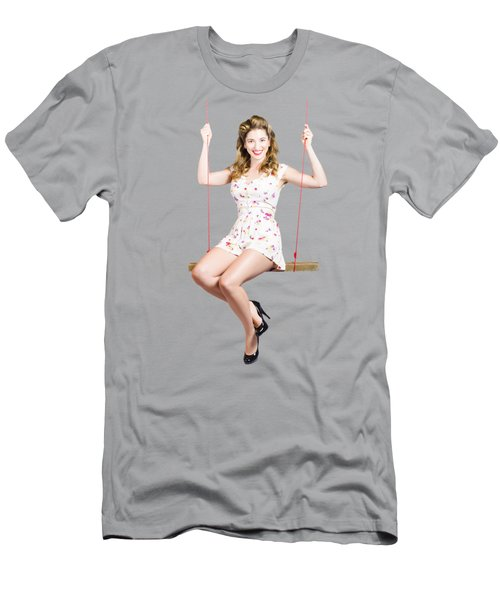 Beautiful Fifties Pin Up Girl Smiling On Swing Men's T-Shirt (Athletic Fit)