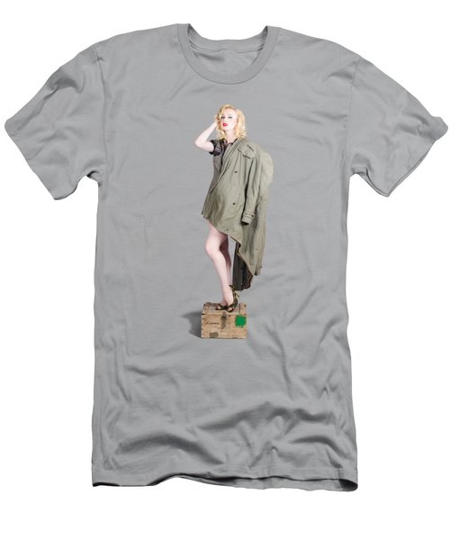 Beautiful Military Pinup Girl. Classic Beauty Men's T-Shirt (Athletic Fit)