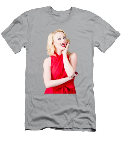Beautiful Pin Up Girl Smiling And Whispering Men's T-Shirt (Athletic Fit)