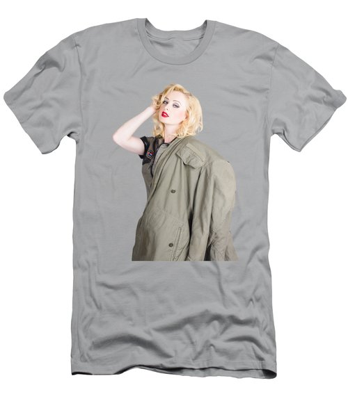 Beautiful Young 1940s Retro Style War Pinup Men's T-Shirt (Athletic Fit)
