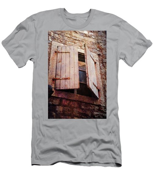 Men's T-Shirt (Athletic Fit) featuring the photograph Behind Shutters by Randi Grace Nilsberg