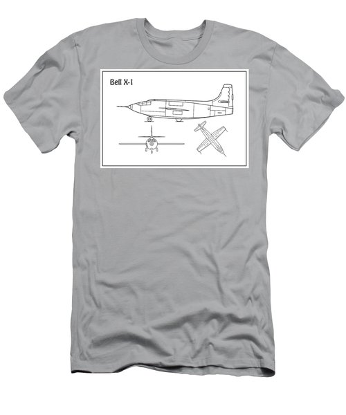 Bell X-1 - Airplane Blueprint. Drawing Plans Or Schematics With Design Outline For The Bell X-1 Men's T-Shirt (Athletic Fit)