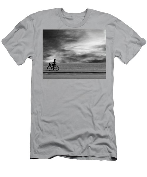 Men's T-Shirt (Athletic Fit) featuring the photograph Biking On Pch by John Rodrigues