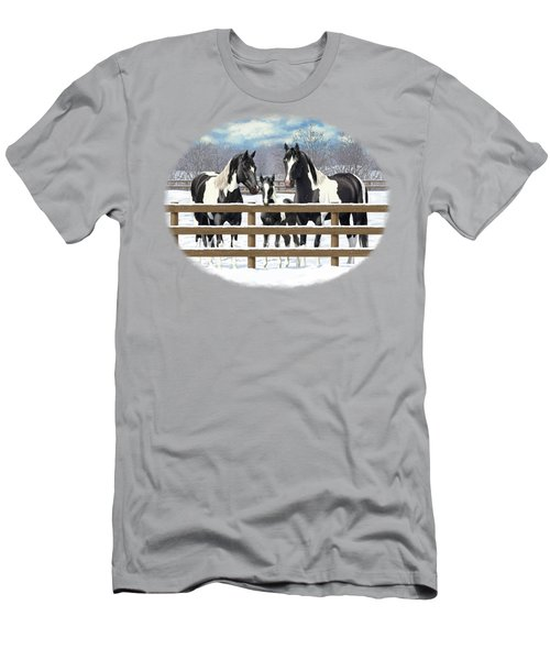 Black Paint Horses In Snow Men's T-Shirt (Athletic Fit)