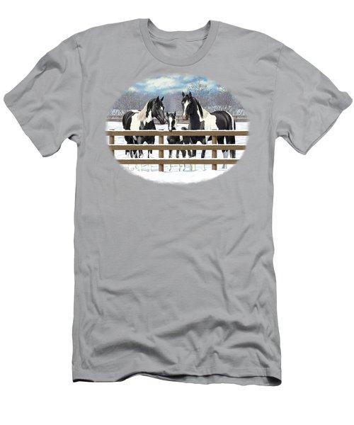 Black Paint Horses In Snow Men's T-Shirt (Athletic Fit)