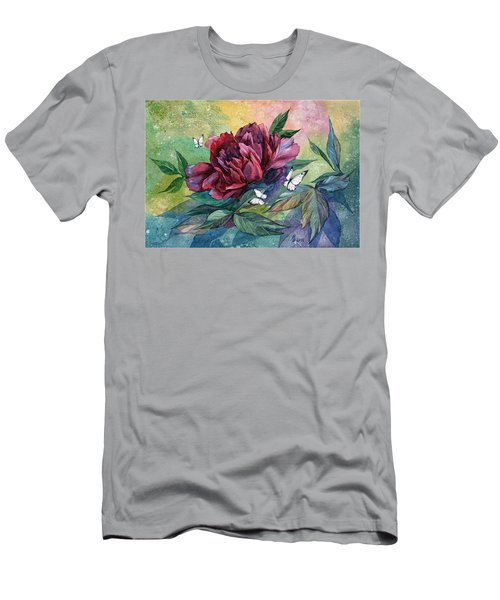 Black Peony Flower And Butterflies Men's T-Shirt (Athletic Fit)