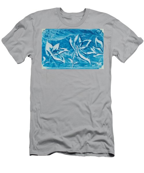 Blue Floral Men's T-Shirt (Athletic Fit)