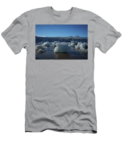 Blue Icebergs Floating Along Storm Arctic Coast Panorama Men's T-Shirt (Athletic Fit)