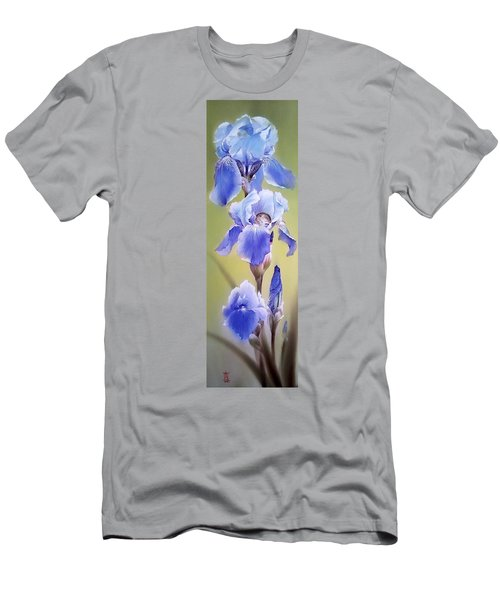 Blue Irises With Sleeping Baby Mouse Men's T-Shirt (Athletic Fit)