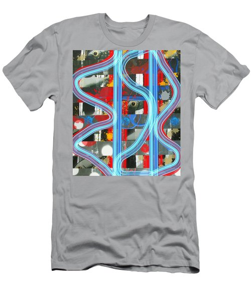 Men's T-Shirt (Athletic Fit) featuring the mixed media Blue Meet Red Black And White Fish by Joan Stratton