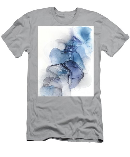Blue Petal Dots Whispy Abstract Painting Men's T-Shirt (Athletic Fit)